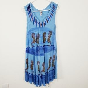 India Boutique   Seahorse Painted Dress Blue OS